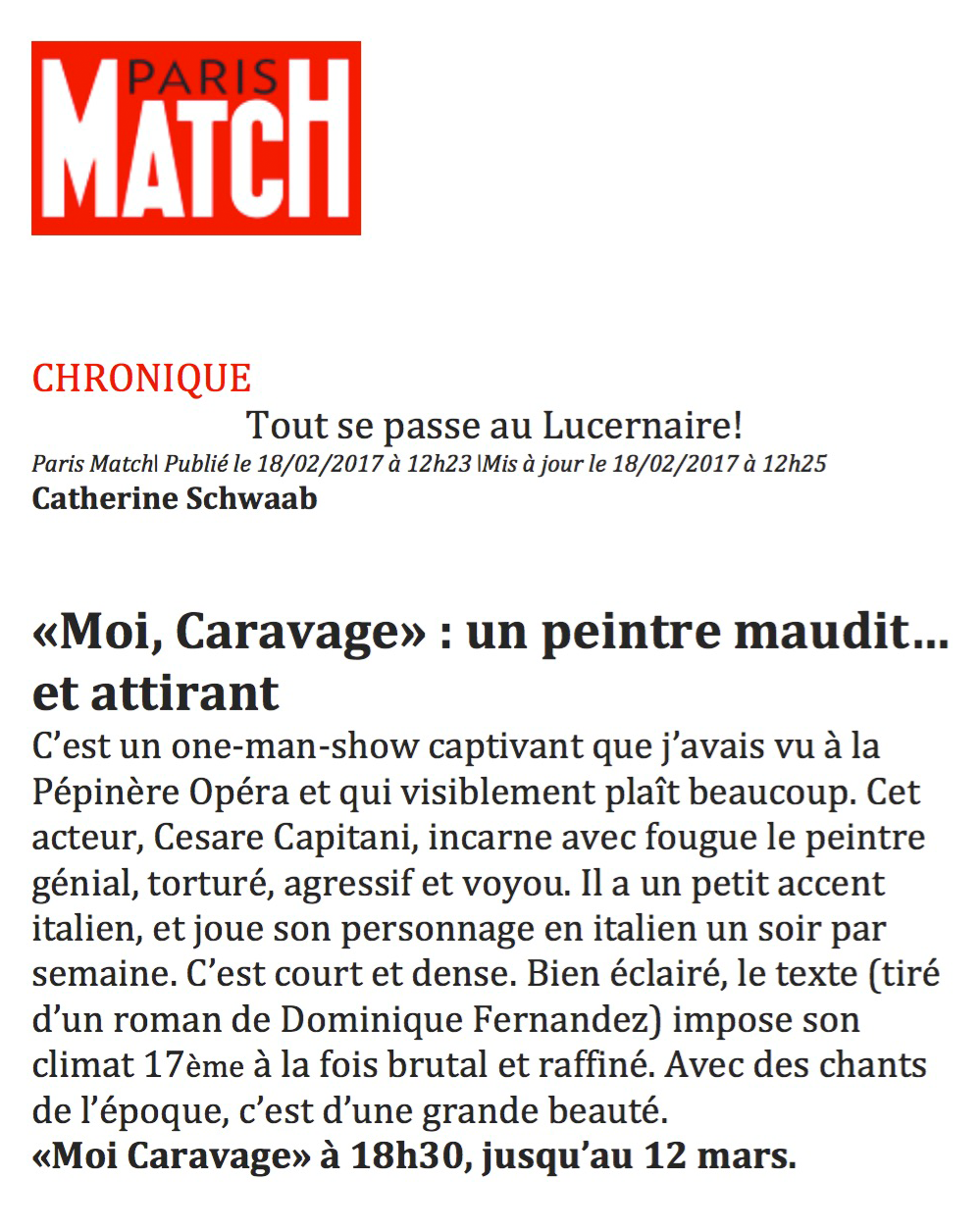 article dans Paris Match